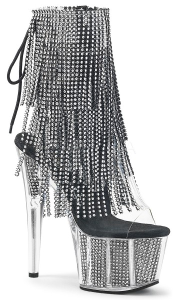 Rhinestone Fringed Black and Silver 7 Inch Heel Ankle Boot at Stripper Plus Clubwear, Stripper Clothes, Exotic Dancewear, Sexy Club Wear, Extreme Platform Shoes