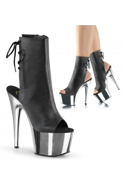 Chrome Heel Black Peep Toe and Heel Platform Ankle Boot Stripper Plus Clubwear Stripper Clothes, Exotic Dancewear, Sexy Club Wear, Extreme Platform Shoes
