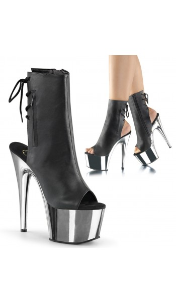 Chrome Heel Black Peep Toe and Heel Platform Ankle Boot at Stripper Plus Clubwear, Stripper Clothes, Exotic Dancewear, Sexy Club Wear, Extreme Platform Shoes