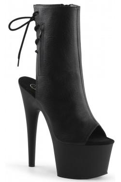 Black Peep Toe and Heel Platform Ankle Boot