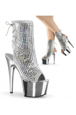 Diamond Rhinestone Silver Hologram Ankle Boot Stripper Plus Clubwear Stripper Clothes, Exotic Dancewear, Sexy Club Wear, Extreme Platform Shoes