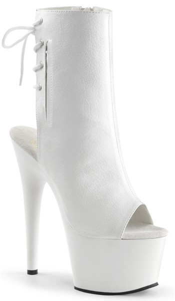 White Peep Toe and Heel Platform Ankle Boot at Stripper Plus Clubwear, Stripper Clothes, Exotic Dancewear, Sexy Club Wear, Extreme Platform Shoes