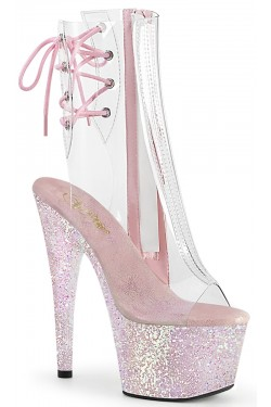 Holographic Glitter Clear Platform Adore Ankle Boot