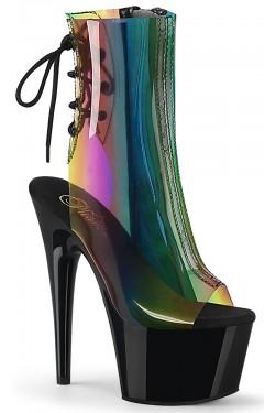 Rainbow Black Platform Ankle Boot