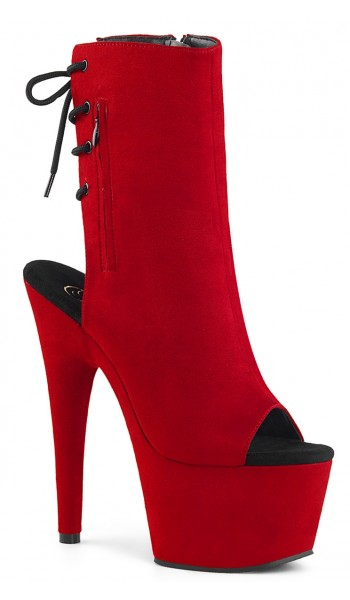 Red Suede Peep Toe and Heel Platform Ankle Boot