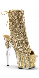 Gold Glittered Platform Ankle Boot