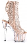 Rose Gold Glittered Platform Ankle Boot at Stripper Plus Clubwear, Stripper Clothes, Exotic Dancewear, Sexy Club Wear, Extreme Platform Shoes
