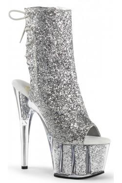 Silver Glittered Platform Ankle Boot