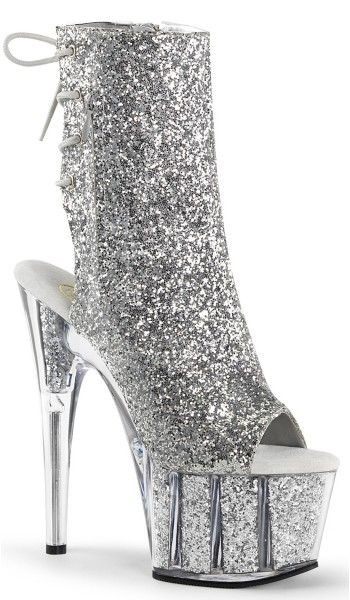 Silver Glittered Platform Ankle Boot at Stripper Plus Clubwear, Stripper Clothes, Exotic Dancewear, Sexy Club Wear, Extreme Platform Shoes
