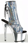Mermaid Silver Hologram Ankle Boot at Stripper Plus Clubwear, Stripper Clothes, Exotic Dancewear, Sexy Club Wear, Extreme Platform Shoes