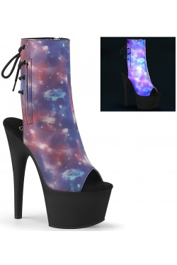 Galaxy Reflective Print Ankle Boot Stripper Plus Clubwear Stripper Clothes, Exotic Dancewear, Sexy Club Wear, Extreme Platform Shoes