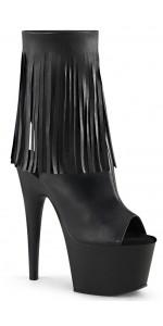 Fringed Black Peep Toe and Heel Platform Ankle Boot