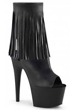 Fringed Black Peep Toe and Heel Platform Ankle Boot Stripper Plus Clubwear Stripper Clothes, Exotic Dancewear, Sexy Club Wear, Extreme Platform Shoes