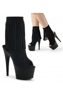 Fringed Black Suede Peep Toe and Heel Platform Ankle Boot Stripper Plus Clubwear Stripper Clothes, Exotic Dancewear, Sexy Club Wear, Extreme Platform Shoes