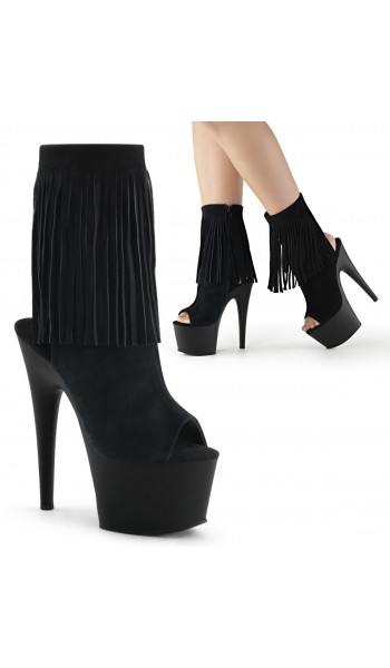 Fringed Black Suede Peep Toe and Heel Platform Ankle Boot at Stripper Plus Clubwear, Stripper Clothes, Exotic Dancewear, Sexy Club Wear, Extreme Platform Shoes