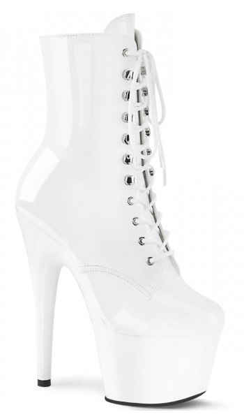 Adore White Patent Platform Granny Ankle Boot at Stripper Plus Clubwear, Stripper Clothes, Exotic Dancewear, Sexy Club Wear, Extreme Platform Shoes