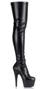 Adore Black Matte Thigh High Platform Boot