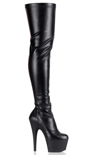 Adore Black Matte Thigh High Platform Boot at Stripper Plus Clubwear, Stripper Clothes, Exotic Dancewear, Sexy Club Wear, Extreme Platform Shoes