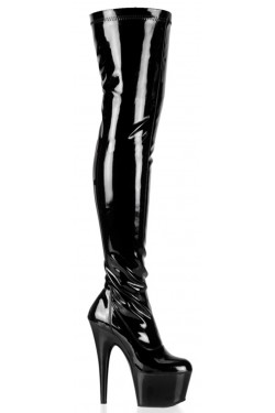 Adore Black Patent Thigh High Platform Boot Stripper Plus Clubwear Stripper Clothes, Exotic Dancewear, Sexy Club Wear, Extreme Platform Shoes
