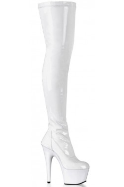 Adore White Thigh High Platform Boot Stripper Plus Clubwear Stripper Clothes, Exotic Dancewear, Sexy Club Wear, Extreme Platform Shoes