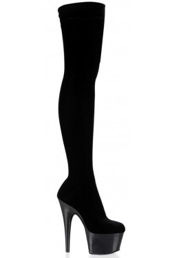 Adore Black Velvet Thigh High Platform Boot Stripper Plus Clubwear Stripper Clothes, Exotic Dancewear, Sexy Club Wear, Extreme Platform Shoes