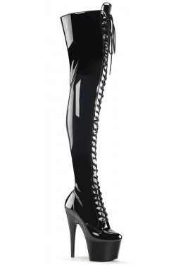 Adore Black Lace Up Thigh High Platform Boot Stripper Plus Clubwear Stripper Clothes, Exotic Dancewear, Sexy Club Wear, Extreme Platform Shoes