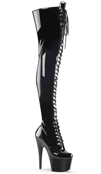Adore Black Lace Up Thigh High Platform Boot at Stripper Plus Clubwear, Stripper Clothes, Exotic Dancewear, Sexy Club Wear, Extreme Platform Shoes
