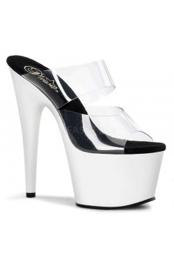 White Platform Adore High Heel Slides Stripper Plus Clubwear Stripper Clothes, Exotic Dancewear, Sexy Club Wear, Extreme Platform Shoes