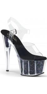 Black Confetti Filled Clear Platform Adore Sandals