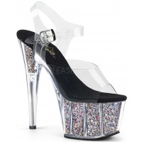 Confetti Filled Clear Platform Adore Sandals
