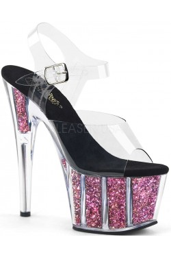 Pink Confetti Filled Clear Platform Adore Sandals