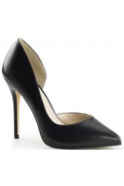 Amuse Black Faux Leather 5 Inch High Open Side Pump Stripper Plus Clubwear Stripper Clothes, Exotic Dancewear, Sexy Club Wear, Extreme Platform Shoes