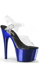 Blue Chrome Platform Clear Strap Platform Sandal