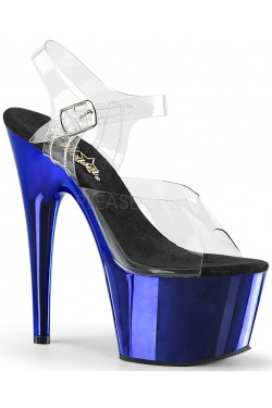 Blue Chrome Platform Clear Strap Platform Sandal Stripper Plus Clubwear Stripper Clothes, Exotic Dancewear, Sexy Club Wear, Extreme Platform Shoes
