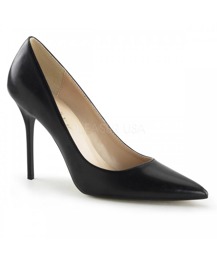 Classique Black Faux Leather 4 Inch