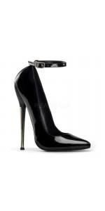Dagger Black Extreme Heel Ankle Strap Pump