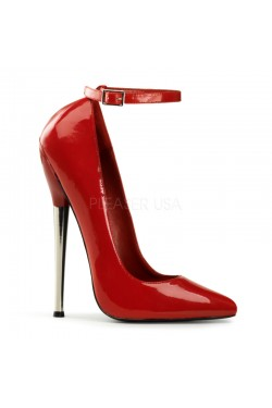 Dagger Red Extreme Heel Ankle Strap Pump