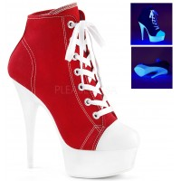 Red and White High Heel Platform Sneaker