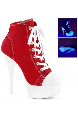 Red and White High Heel Platform Sneaker Stripper Plus Clubwear Stripper Clothes, Exotic Dancewear, Sexy Club Wear, Extreme Platform Shoes