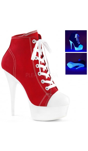 Red and White High Heel Platform Sneaker at Stripper Plus Clubwear, Stripper Clothes, Exotic Dancewear, Sexy Club Wear, Extreme Platform Shoes