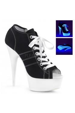 Black High Heel Peep Toe Sneaker Stripper Plus Clubwear Stripper Clothes, Exotic Dancewear, Sexy Club Wear, Extreme Platform Shoes