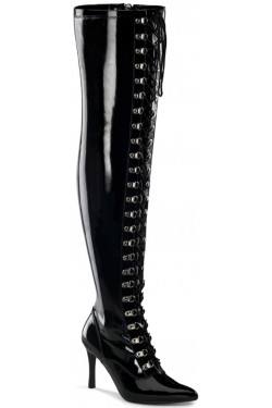 Dominatrix Wide Width Black Thigh High Boots Stripper Plus Clubwear Stripper Clothes, Exotic Dancewear, Sexy Club Wear, Extreme Platform Shoes