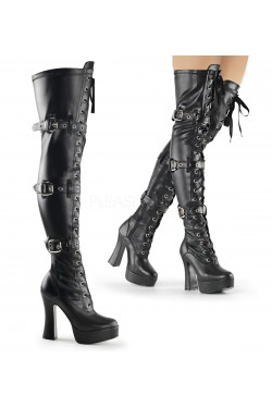 Electra Black Buckled Thigh High Platform Boots Stripper Plus Clubwear Stripper Clothes, Exotic Dancewear, Sexy Club Wear, Extreme Platform Shoes