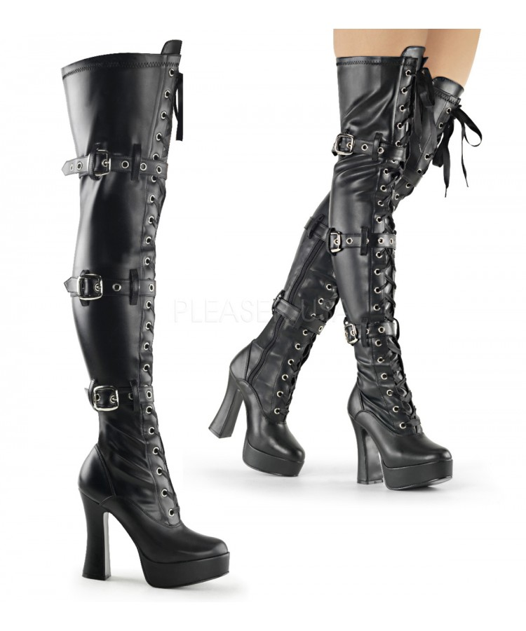 Electra Black Buckled Thigh High Platform Boots at Stripper Plus Clubwear, Stripper  Clothes, Exotic