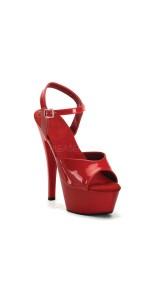 Juliet Red Platform Sandal with 6 Inch Heel