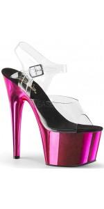 5ff78d4edba5 Hot Pink Chrome Platform Clear Strap Platform Sandal