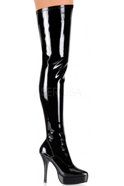 Black Indulge Faux Patent Leather Stiletto Heel Boot Stripper Plus Clubwear Stripper Clothes, Exotic Dancewear, Sexy Club Wear, Extreme Platform Shoes