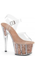 Rose Gold Glitter Filled Clear Platform Adore Sandals