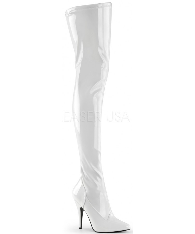 bc99333d5b9 Seduce White High Heel Thigh High Boots