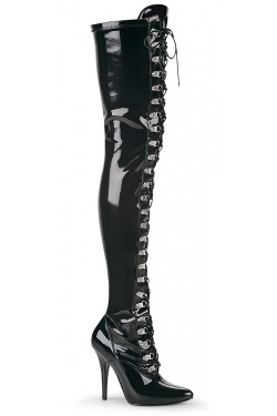 Seduce Black Patent Lace Up Thigh High Boots Stripper Plus Clubwear Stripper Clothes, Exotic Dancewear, Sexy Club Wear, Extreme Platform Shoes